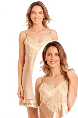 Short Sexy Muted Gold Satin and Lace Nighty Size UK 10/12 to 26/28